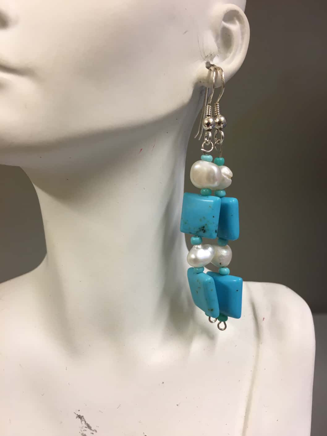 Turquoise Howlite and Pearls